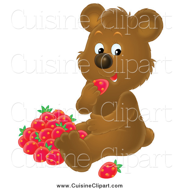Cuisine Clipart of a Brown Bear Eating Strawberries