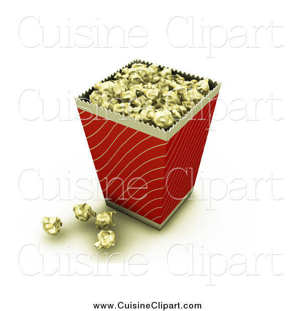 Cuisine Clipart of a Bucket of Buttery Movie Popcorn with Some Popcorn on the Counter