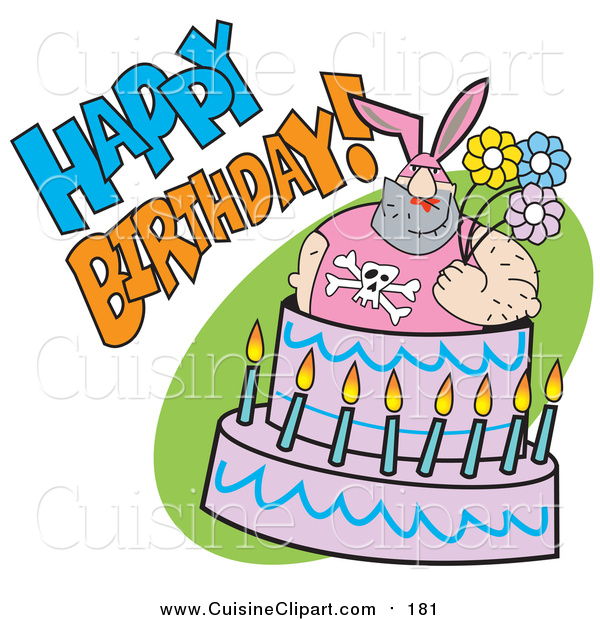 Cuisine Clipart of a Buff Dude in Bunny Ears, Popping out of a Birthday Cake