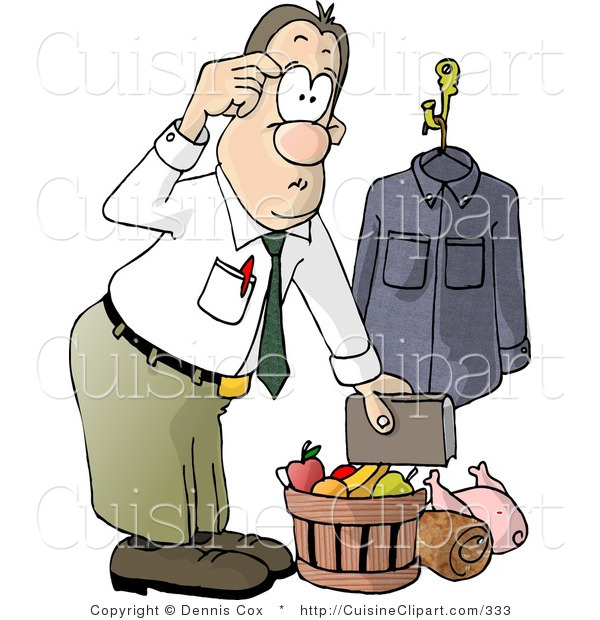 Cuisine Clipart of a Businessman Bringing Christmas Food Gifts Home from Work