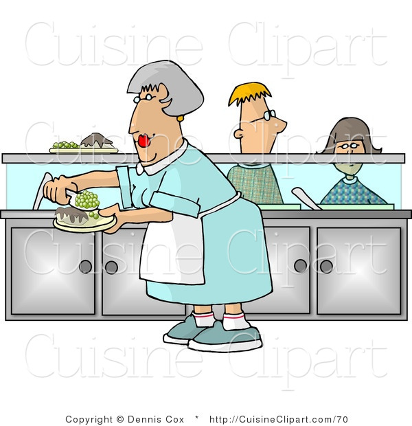 Cuisine clipart of a cafeteria lady preparing plates of for Art de cuisine plates