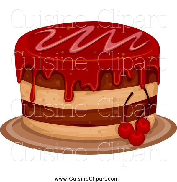 Cuisine Clipart of a Cake with Cherry Frosting