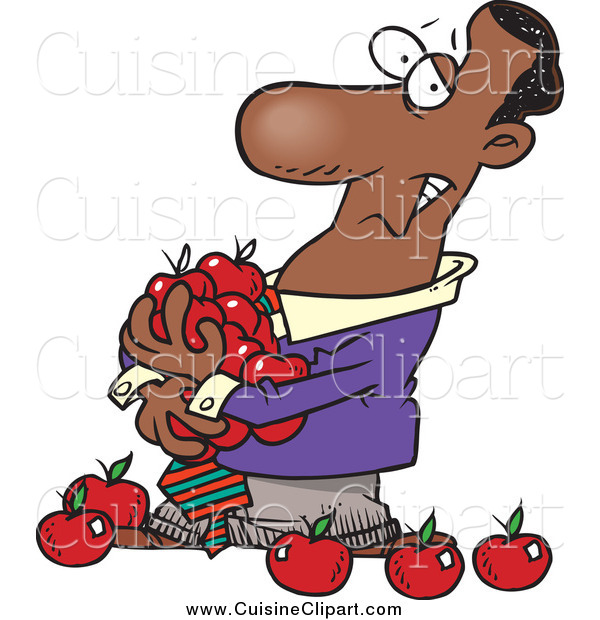 Cuisine Clipart of a Cartoon Black Business Man Holding an Armful of Apples