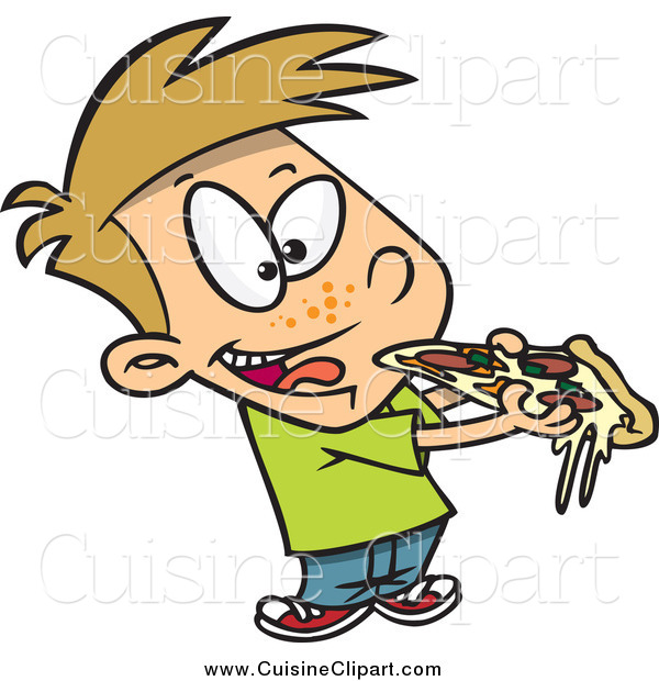 Cuisine Clipart of a Cartoon Boy Eating Cheesy Pizza