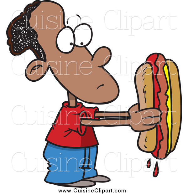 Cuisine Clipart of a Cartoon Sad Black Boy Holding a Big Hot Dog