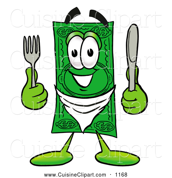Cuisine Clipart of a Cash Dollar Bill Mascot Cartoon Character Holding a Knife and Fork