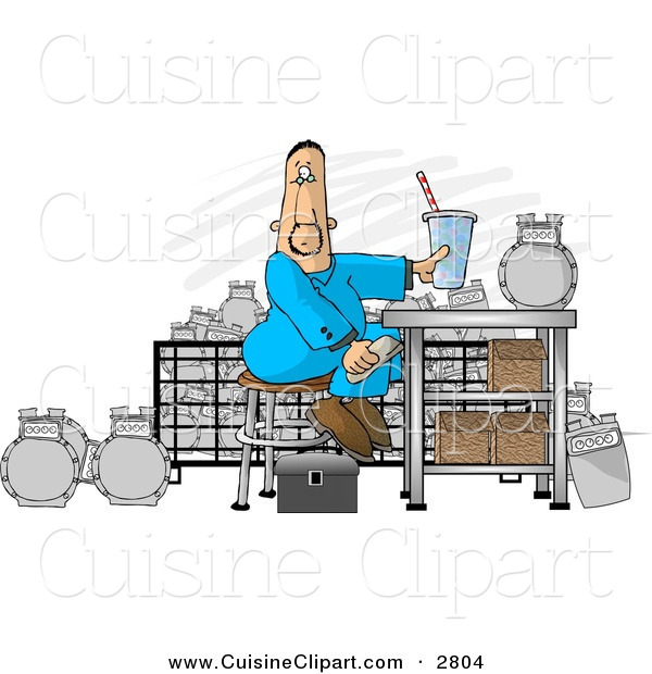Cuisine Clipart of a Caucasian Gas Meter Repairman Sitting in His Shop Eating Lunch