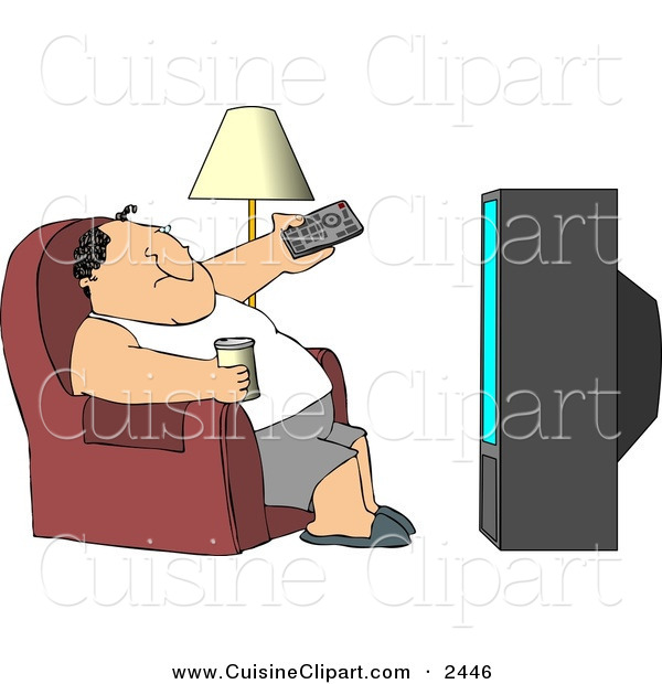 Cuisine Clipart of a Caucasian Man Sitting on a Couch, Channel Surfing the TV, and Drinking Beer