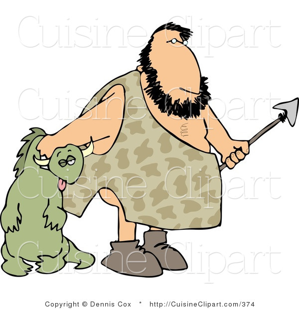 Cuisine Clipart of a Caveman Carrying Knocked out Dinosaur
