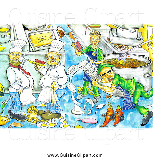 Cuisine Clipart of a Chaotic Kitchen with Messy Chefs