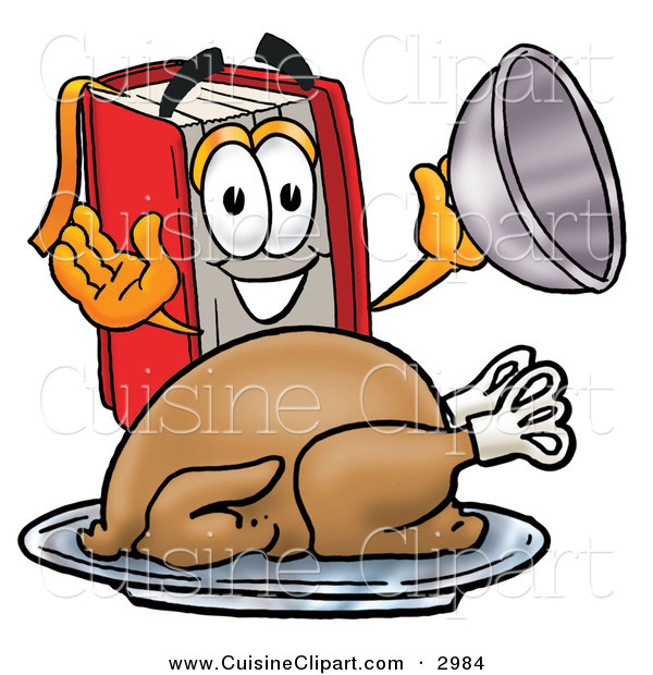 Cuisine Clipart of a Cheerful and Hungry Red Book Mascot Cartoon Character Serving a Thanksgiving Turkey on a Platter