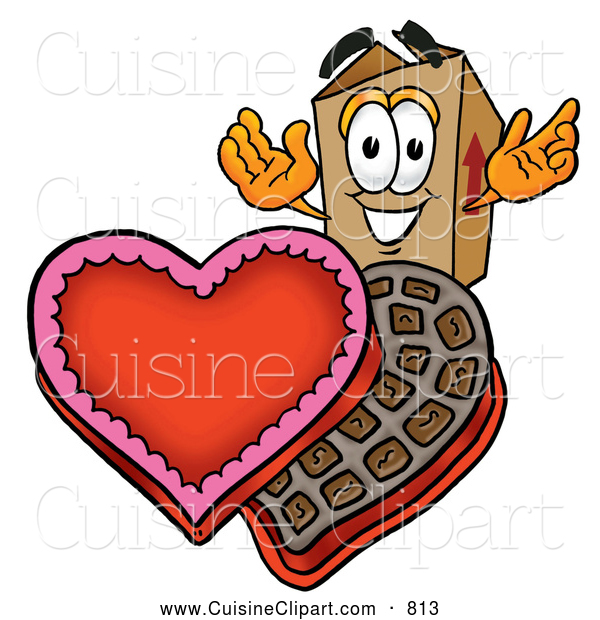 Cuisine Clipart of a Cheerful Cardboard Box Mascot Cartoon Character with an Open Box of Valentines Day Chocolate Candies