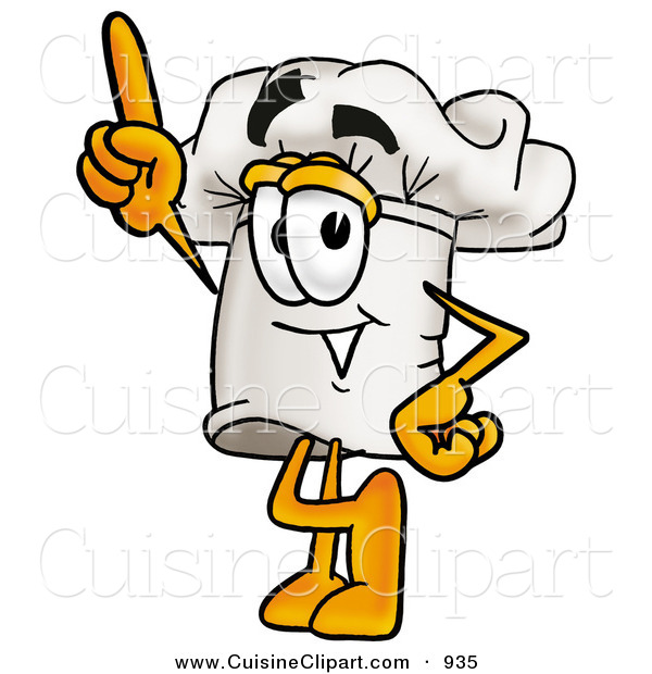 Cuisine Clipart of a Cheerful Chefs Hat Mascot Cartoon Character Pointing Upwards
