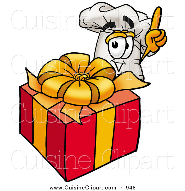 Cuisine Clipart of a Cheerful Chefs Hat Mascot Cartoon Character Standing by a Christmas Present
