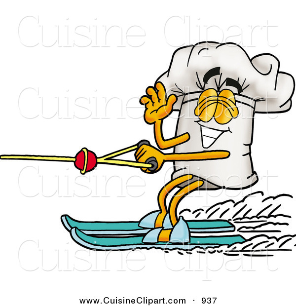 Cuisine Clipart of a Cheerful Chefs Hat Mascot Cartoon Character Waving While Water Skiing