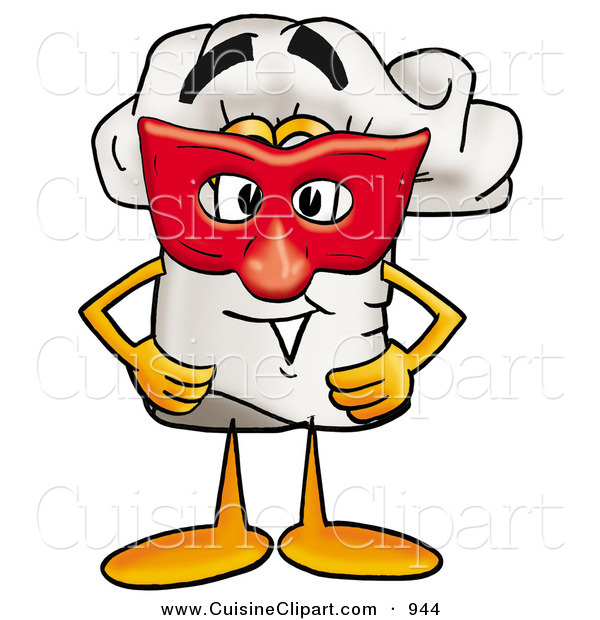 Cuisine Clipart of a Cheerful Chefs Hat Mascot Cartoon Character Wearing a Red Mask over His Face