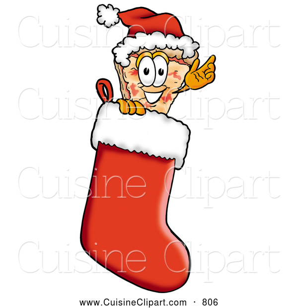 Cuisine Clipart of a Cheerful Slice of Pizza Mascot Cartoon Character Wearing a Santa Hat Inside a Red Christmas Stocking