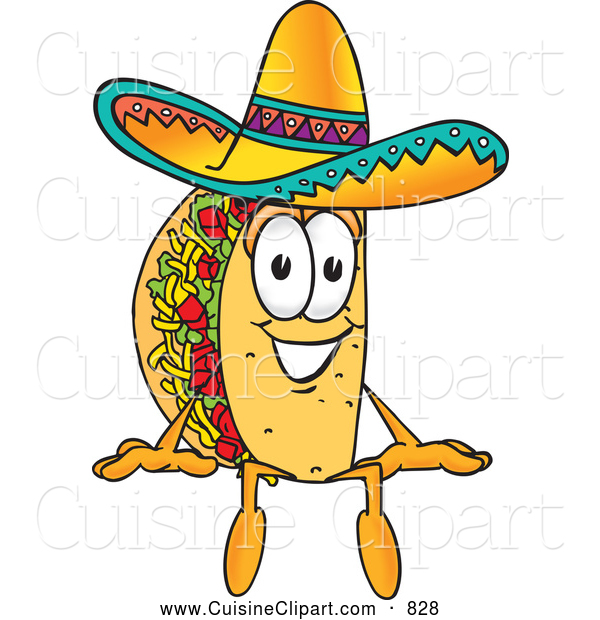 Cuisine Clipart of a Cheerful Taco Mascot Cartoon Character Sitting