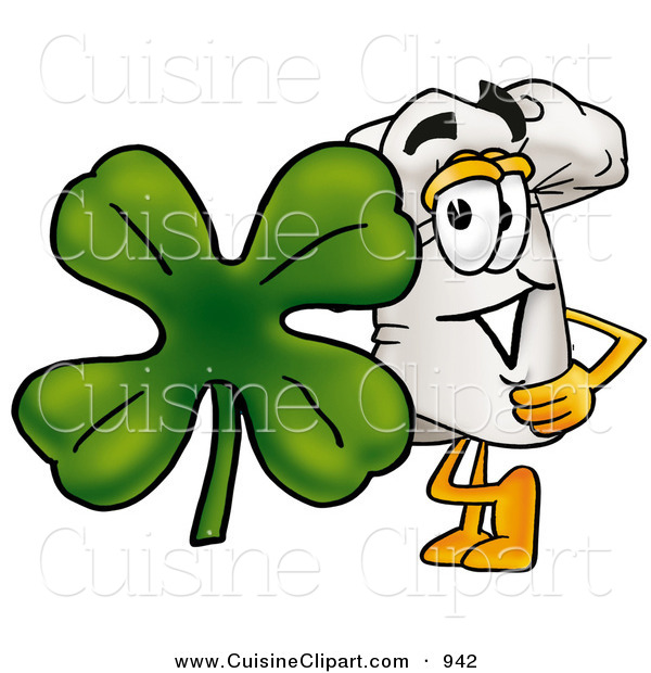 Cuisine Clipart of a Cheerful White Chefs Hat Mascot Cartoon Character with a Green Four Leaf Clover on St Paddy's or St Patricks Day