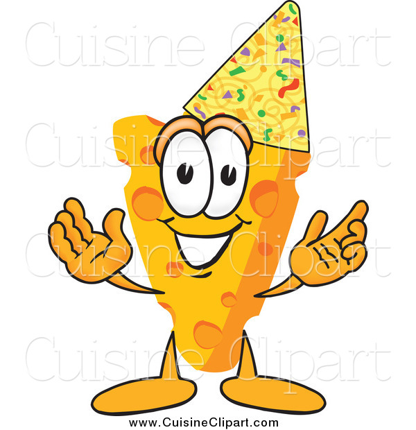 Cuisine Clipart of a Cheese Character Wearing a Party Hat