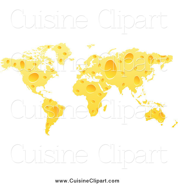 Cuisine Clipart of a Cheese World Map with Holes