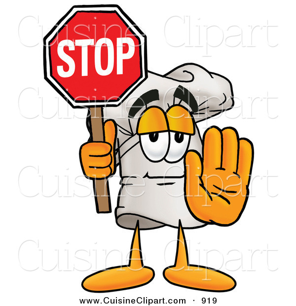 Cuisine Clipart of a Chefs Hat Mascot Cartoon Character Holding a Stop Sign and His Arm out