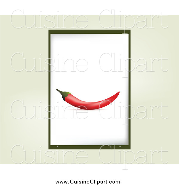 Cuisine Clipart of a Chili Pepper Frame over Beige