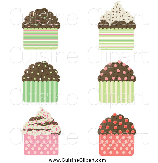 Cuisine Clipart of a Chocolate Cupcakes with Sprinkles and Patterned Wrappers