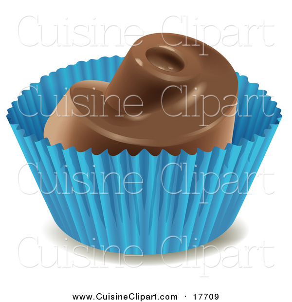 Cuisine Clipart of a Chocolate Dessert Candy in a Blue Wrapper