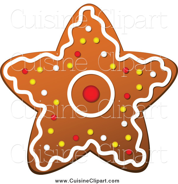 Cuisine Clipart of a Christmas Gingerbread Star Cookie