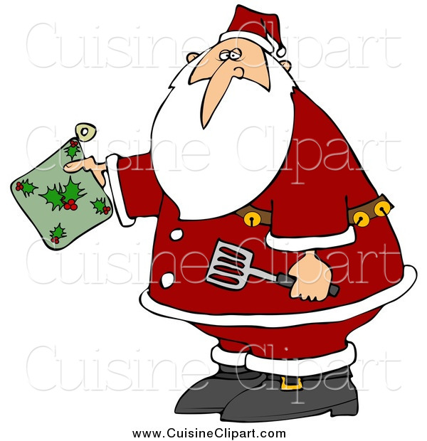 Cuisine Clipart of a Christmas Santa Claus Holding a Green Holly Hot Pad and Spatula in the Kitchen