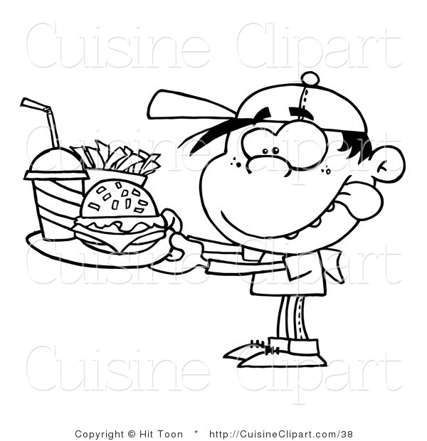 Cuisine Clipart of a Coloring Page of a Boy with Fast Food