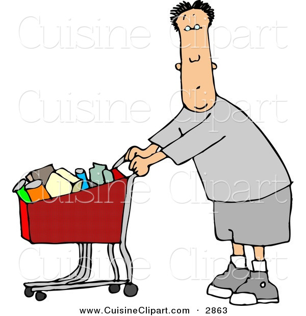 Cuisine Clipart of a Confused Man Pushing a Shopping Cart Filled with Food in a Grocery Store