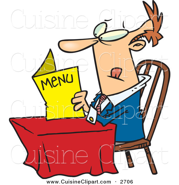 Cuisine Clipart of a Confused White Man Sitting at a Table and Reading a Menu at a Restaurant
