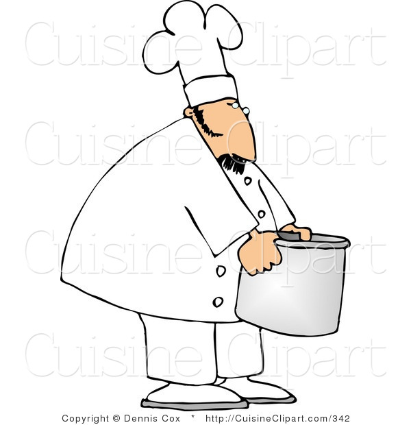 Cuisine clipart of a cook moving a big aluminum metal for Art cuisine cookware