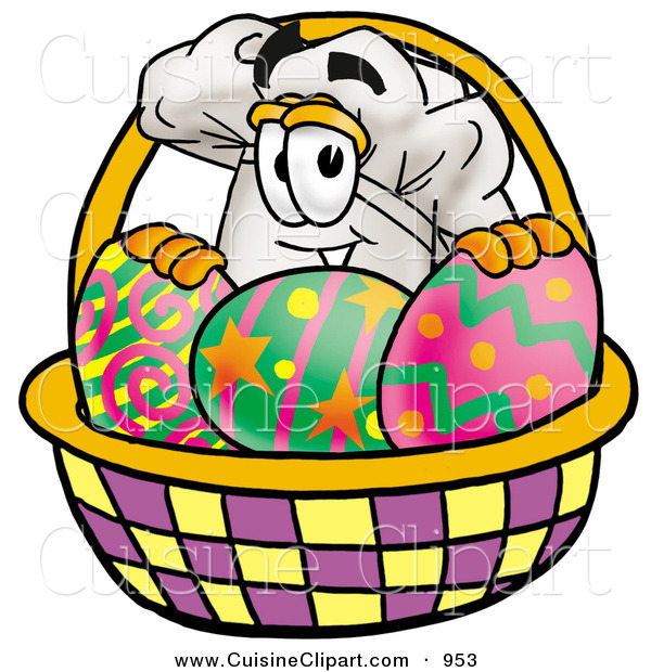 Cuisine Clipart of a Cook's Hat Mascot Cartoon Character in an Easter Basket Full of Decorated Easter Eggs