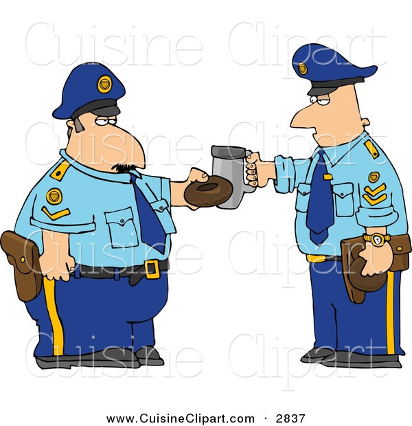 Cuisine Clipart of a Couple of Policemen Toasting Donut and Coffee Cup Together on White