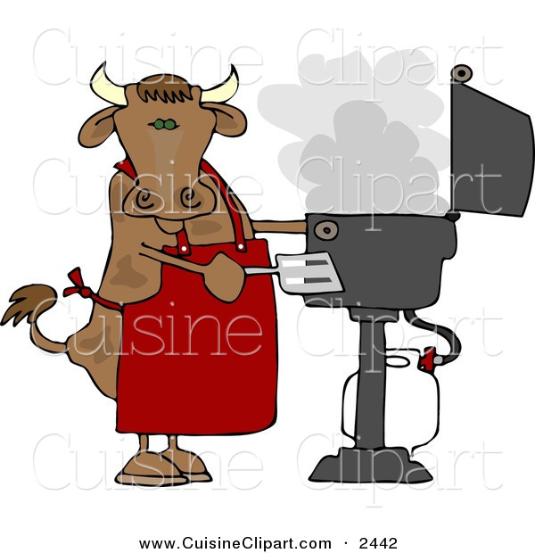 Cuisine Clipart of a Cow Cooking BBQ on an Smoky Outdoor Propane Grill
