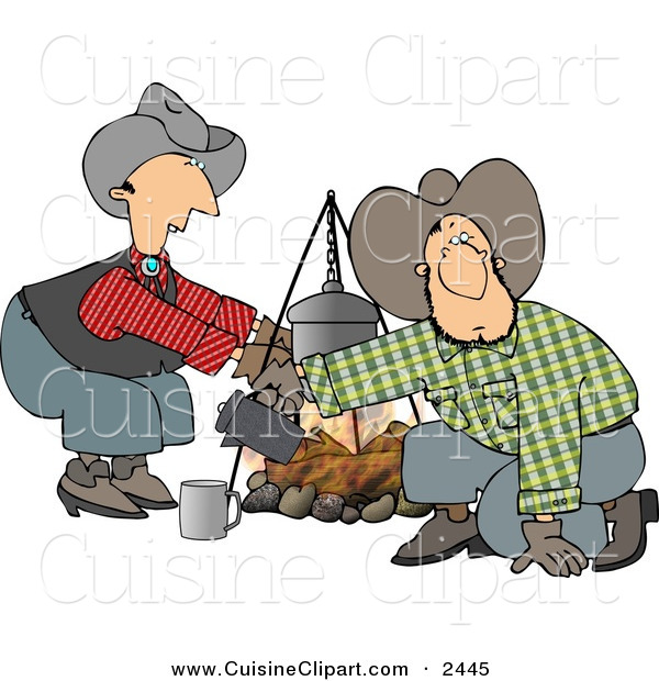 Cuisine Clipart of a Cowboy and Cowgirl Standing and Kneeling Beside a Campfire