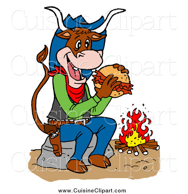 Cuisine Clipart of a Cowboy Cow Eating a Pulled Pork Sandwich by a Fire