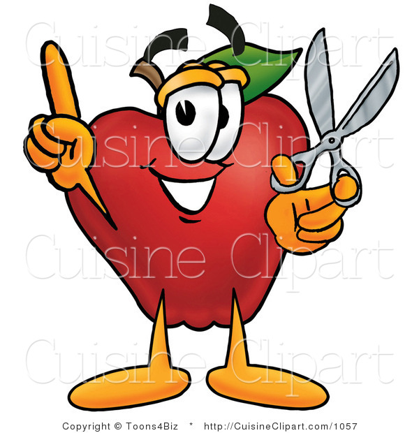 Cuisine Clipart of a Crafty Red Apple Character Mascot Holding a Pair of Scissors