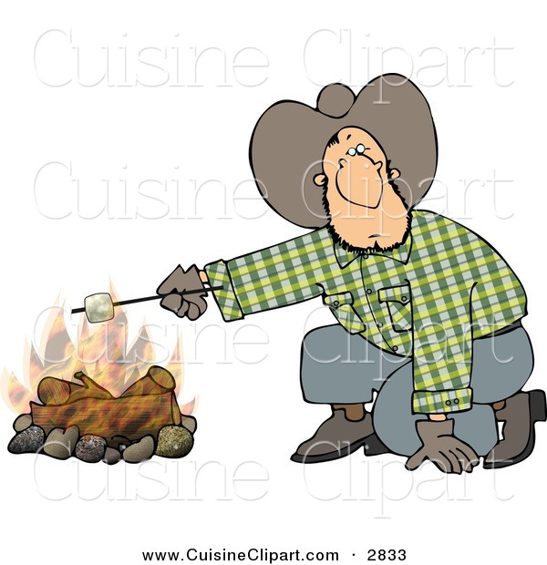 Cuisine Clipart of a Curious Cowboy Man Roasting a Marshmallow over a Campfire