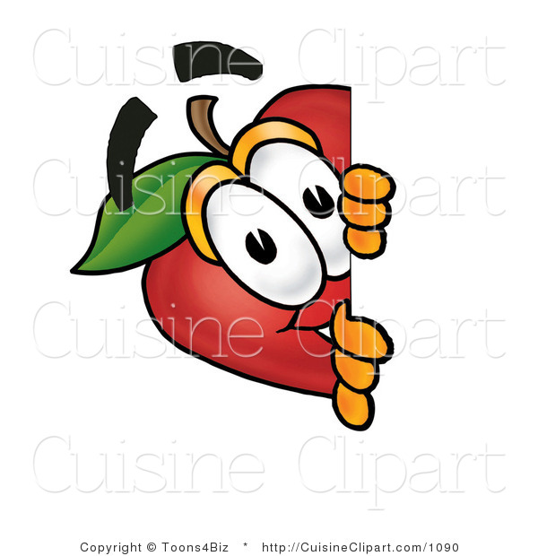 Cuisine Clipart of a Curious Red Apple Character Mascot Peeking Around a Corner and Spying on Someone