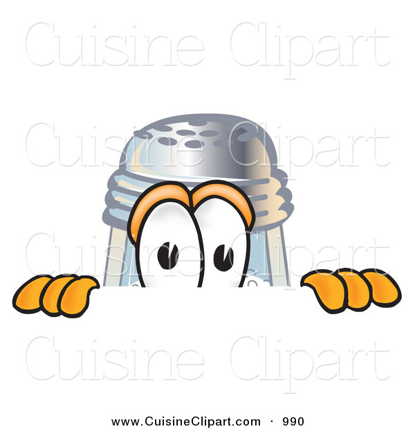 Cuisine Clipart of a Curious Salt Shaker Mascot Cartoon Character Peeking over a Surface
