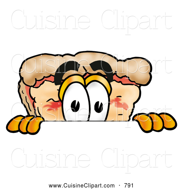 Cuisine Clipart of a Curious Slice of Pizza Mascot Cartoon Character Peeking over a Surface