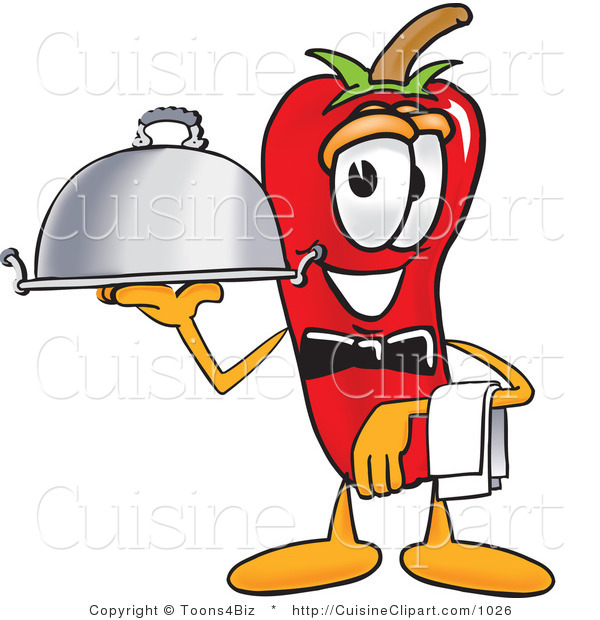 Cuisine Clipart of a Cute Chili Pepper Mascot Cartoon Character Holding a Serving Platter