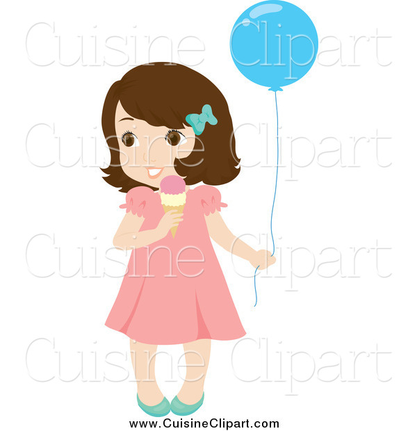 Cuisine Clipart of a Cute Little Brunette White Girl Holding a Balloon and Eating an Ice Cream Cone