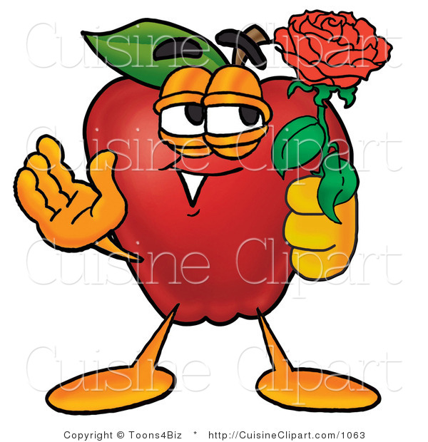 Cuisine Clipart of a Cute Romantic Red Apple Character Mascot Holding a Single Red Rose for His Love on Valentines Day