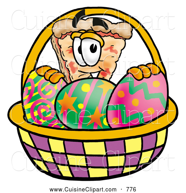 Cuisine Clipart of a Cute Slice of Pizza Mascot Cartoon Character in an Easter Basket Full of Decorated Easter Eggs