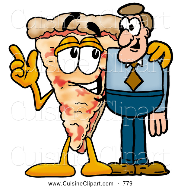 Cuisine Clipart of a Cute Slice of Pizza Mascot Cartoon Character Talking to a Business Man